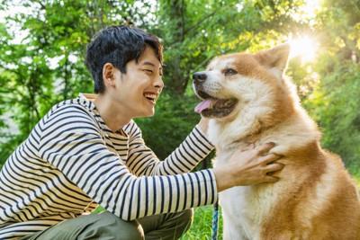 散歩中の男性と犬