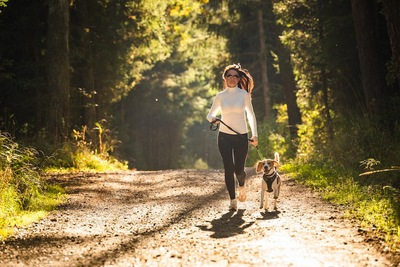 リードをつけたビーグル犬と自然の中をジョギングする女性