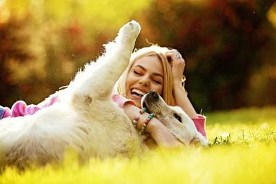 抱き合う大型犬と女性