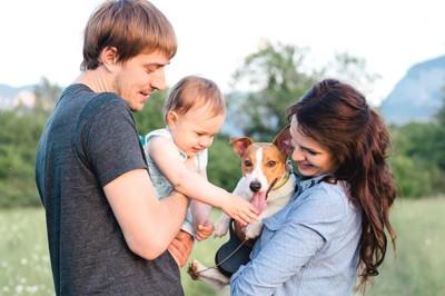 犬を触ろうとする赤ちゃんと夫婦