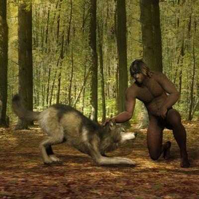 古代人と犬のイラスト