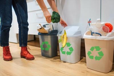 キッチンのゴミ箱に食材を捨てる人