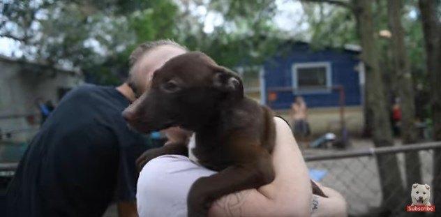 犬を抱える女性1