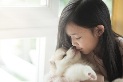 白い子犬にキスをする女の子