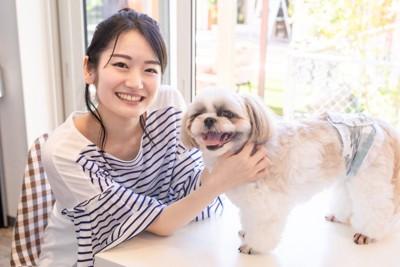 愛犬と遊ぶ飼い主の女性