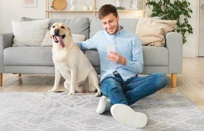 スマートフォンを見る飼い主の隣に座る犬