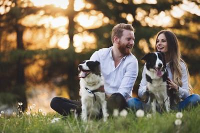 2頭の犬と男性と女性