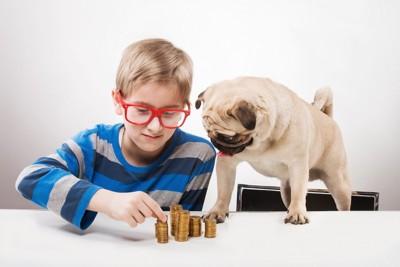 コインを数える子供と犬