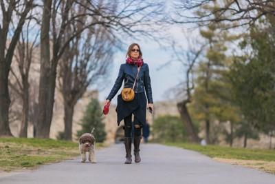 愛犬と散歩している女性