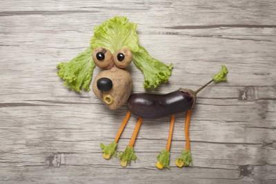 野菜で出来た犬