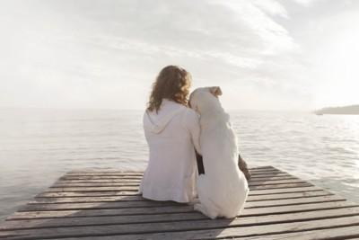 女性に寄りかかって座る白い犬