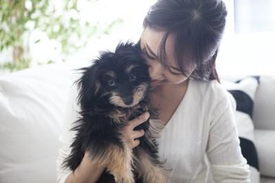 子犬を大切そうにだきしめる女性