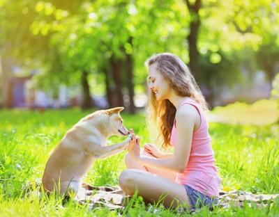 犬とハイタッチする女性