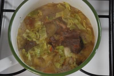 鍋の中の馬肉と野菜