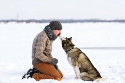 トレーナーにキスするシベリアンハスキー