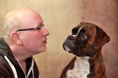 愛犬に語りかける人
