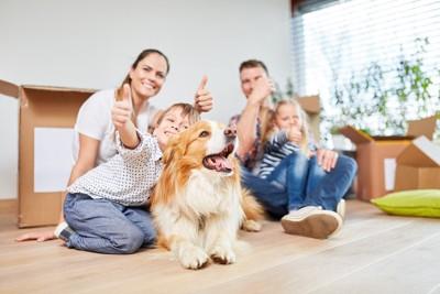 人の家族と犬