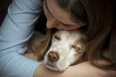 犬を抱きしめる人
