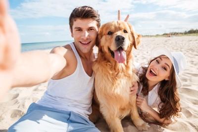 飼い主と海にいる犬