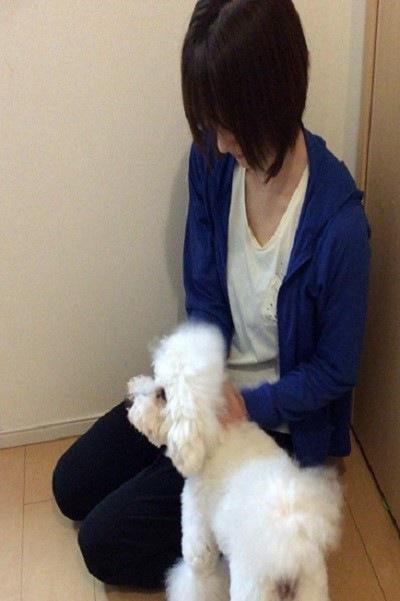 女性犬の首に手を添えている 犬左を向いている 尾が正面