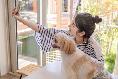 自撮りする女性と犬