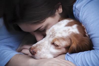 女性に抱きしめられる犬