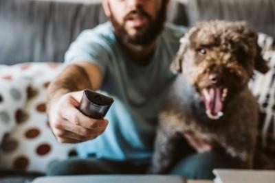 テレビのリモコンを向ける男性と横にいる犬