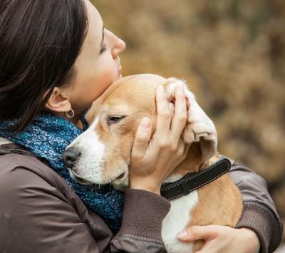 飼い主さんと抱き合う犬