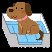 トイレに座る犬のイラスト