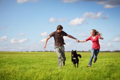 手をつないで走るカップルと犬
