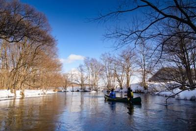 冬のカヌー