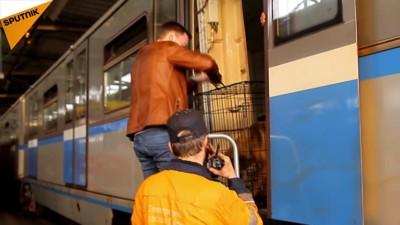 檻に入った犬が電車から降ろされるところ