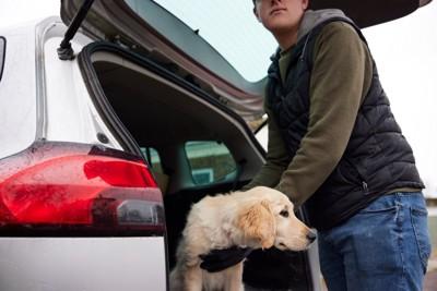 犬を誘拐している犯罪者
