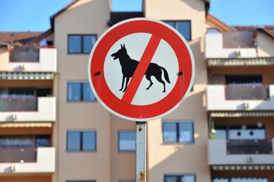 犬禁止の標識と集合住宅