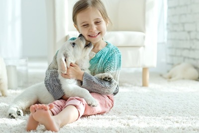じゃれる子犬を抱く女の子