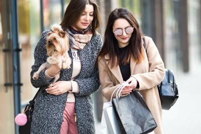 ショッピングする女性たちと犬