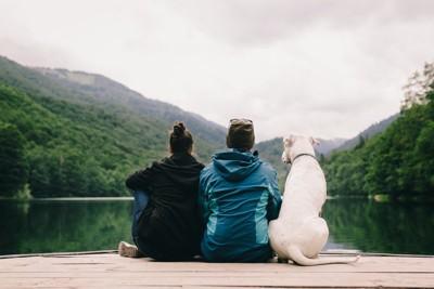 白い犬とカップルの後ろ姿