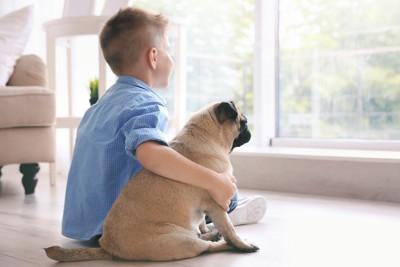 窓のそばに座る犬と子ども