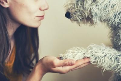 犬の手を持つ女性
