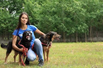 2匹の保護犬を撫でる女性