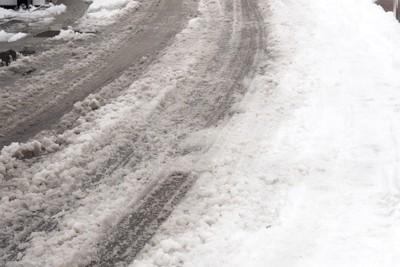 雪が溶けた道