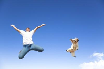 青空でジャンプする犬と男性