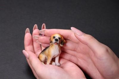 人の手の上の小さな犬の置き物