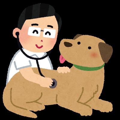 聴診器を当てられている犬のイラスト