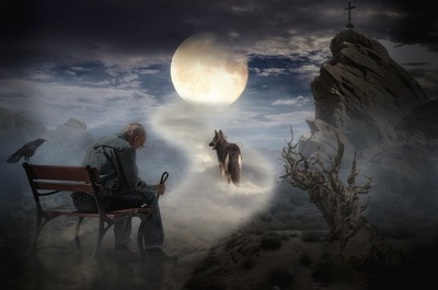 天国にいく犬と悲しむ飼い主の絵