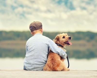 少年の横に座る犬