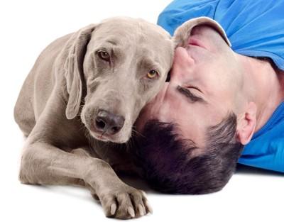 男性の顔に乗る犬