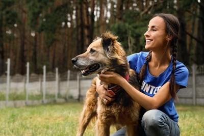 保護犬を撫でるボランティアの女性