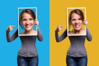 怒りの表情と幸せな表情