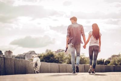 散歩をするカップルと犬